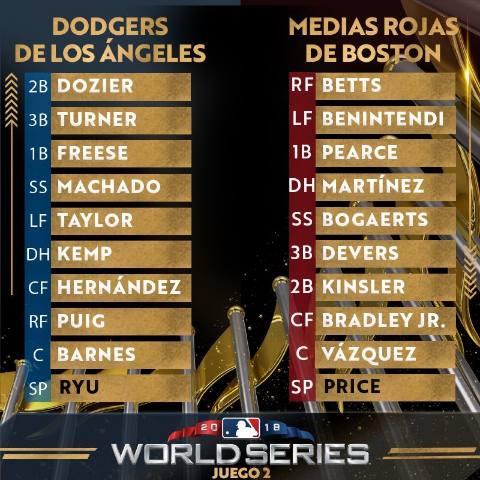 WS game 2: Todo al Rojo Boston Red Sox Los Angeles dodgers World Series 2018 series mundiales mlb Segundo partido alineaciones
