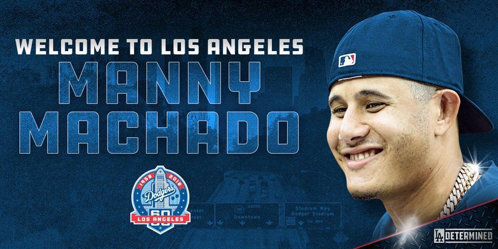La cuenta oficial de twitter de Los Angels Dodgers dio así la bienvenida al equipo a Manny Machado Los Dodgers van (muy) en serio a por el título