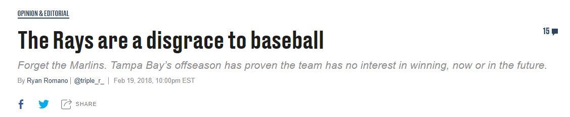 Tampa Bay Rays. Resumen temporada 2018 mlb beisbol Una de las multiples opiniones de los medios antes del comienzo de la temporada (SBNation)
