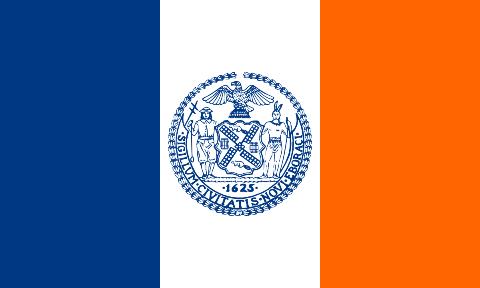 Bandera de Nueva York con los mismos colores que utilizan los Metropolitanos de Nueva York; azul, blanco y naranja. Historia de los New York Mets: Origenes y fundación