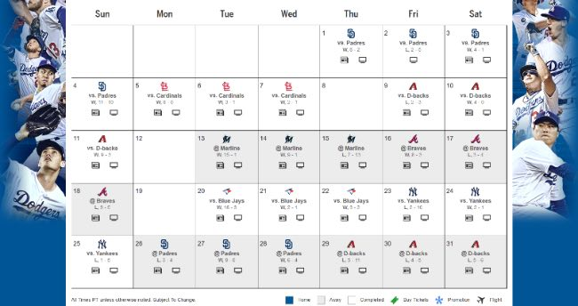 los angeles dodgers mes a mes agosto 2019 beisbol mlb calendario