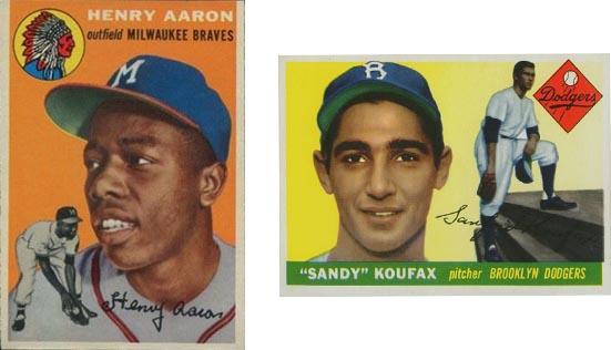 Cromos de rookie de Hank Aaron y Sandy Koufax