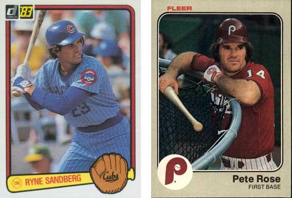 Cromos de Ryne Sandberg (Donruss 1983) y Pete Rose (Fleer 1983)
