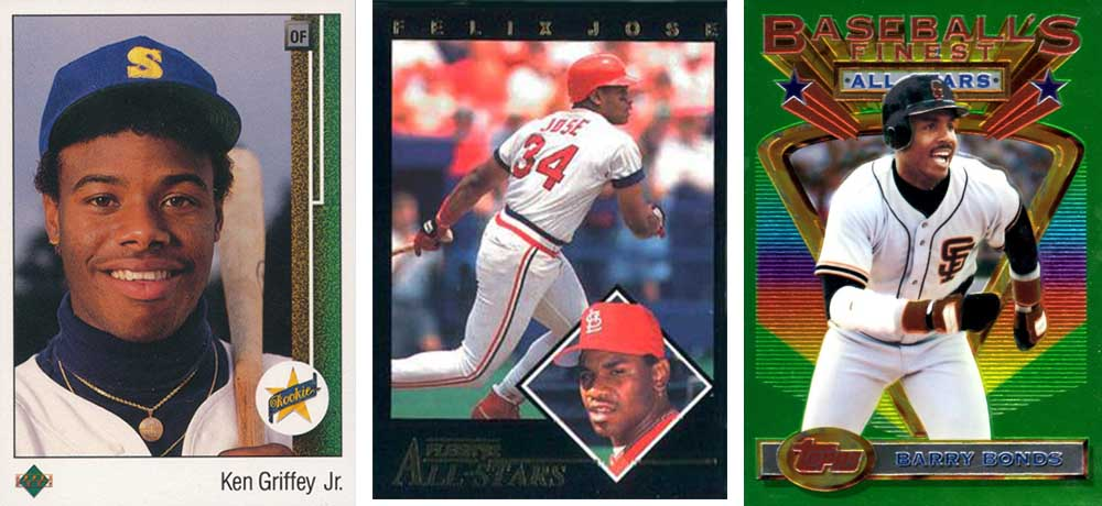 Cromo de rookie de Ken Griffey Jr. (Upper Deck 1989), Félix José (All-Stars insert, Upper Deck 1992) y Barry Bonds (Topps Finest 1993)