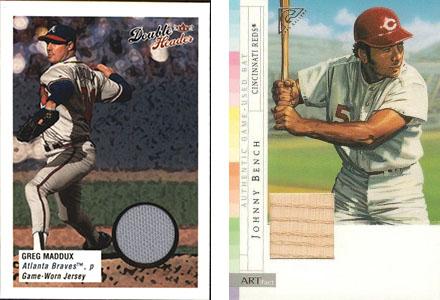 Cromos de Greg Maddux con un pedazo de su camiseta (Fleer 2003) y de Johnny Bench (Topps 2003)