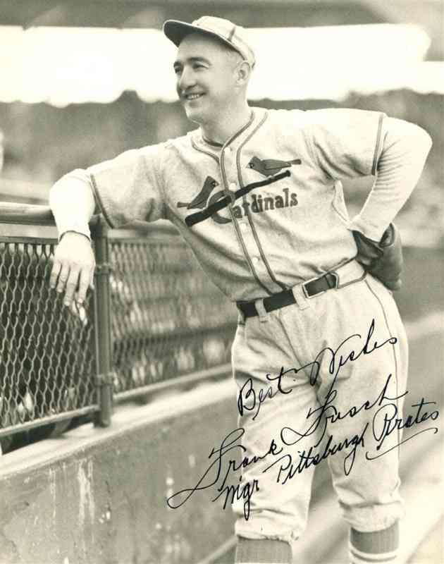 frankie frisch mejores jugadores de la historia del beisbol autógrafo