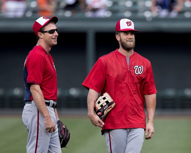 Max Scherzer y Bryce Harper. Foto Keith Allison washinton nationals 2018