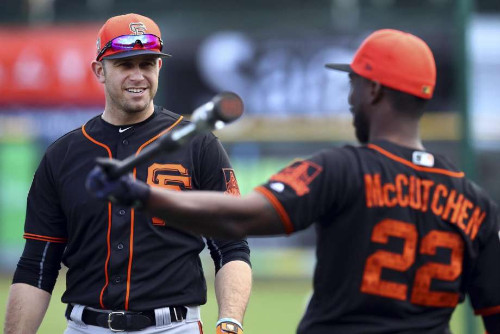 McCutchen y Longoria en el Spring Training San Francisco Giants 2018