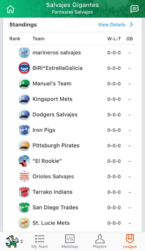 Ejemplo liga Head to Head fantasy mlb