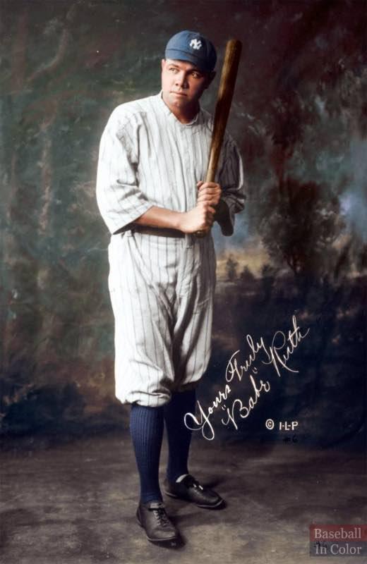dead ball era Babe Ruth en 1920. El cambió la forma de jugar el beisbol para siempre. (foto cortesía de @baseballincolor)