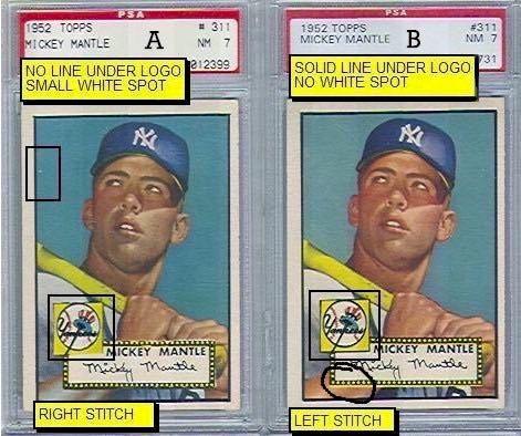 Mickey Mantle – 1952 Topps Baseball. El cromo que lo empezó todo. Diferencias entre las dos variaciones del cromo de Mickey Mantle en la colección 1952 Topps Baseball.
