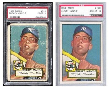 """Mickey Mantle – 1952 Topps Baseball. El cromo que lo empezó todo. Ejemplares de Mickey Mantle de la colección 1952 Topps Baseball con una valoración de 1, por el que se pagaron 2.954 dólares en 2010 (<a href=""""https://www.psacard.com/auctionprices/baseball-cards/1952-topps/mickey-mantle/auction/23657/"""" target=""""_blank"""" rel=""""noopener"""">izquierda</a>), y con una puntuación de 10 (<a href=""""http://www.1952toppsbaseballcards.com/MickeyMantlePSA10Page.htm"""" target=""""_blank"""" rel=""""noopener"""">derecha</a>). No es posible conseguir ninguno mejor que este último."""