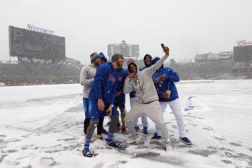 Nieve en Wrigley Field Mal tiempo mlb