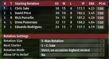 Rotación de 5 hombres de los Boston Red Sox OOTP