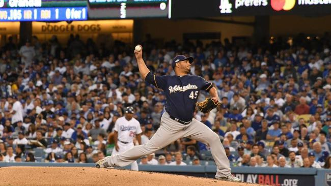 Jhoulys Chacin dodgers brewers cerveceros mlb playoffs dodgers Los Angeles Milwaukee béisbol