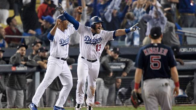 Max muncy wal off home run maratón de beisbol red sox dodgers boston los angeles mlb series mundiales 2018 world series