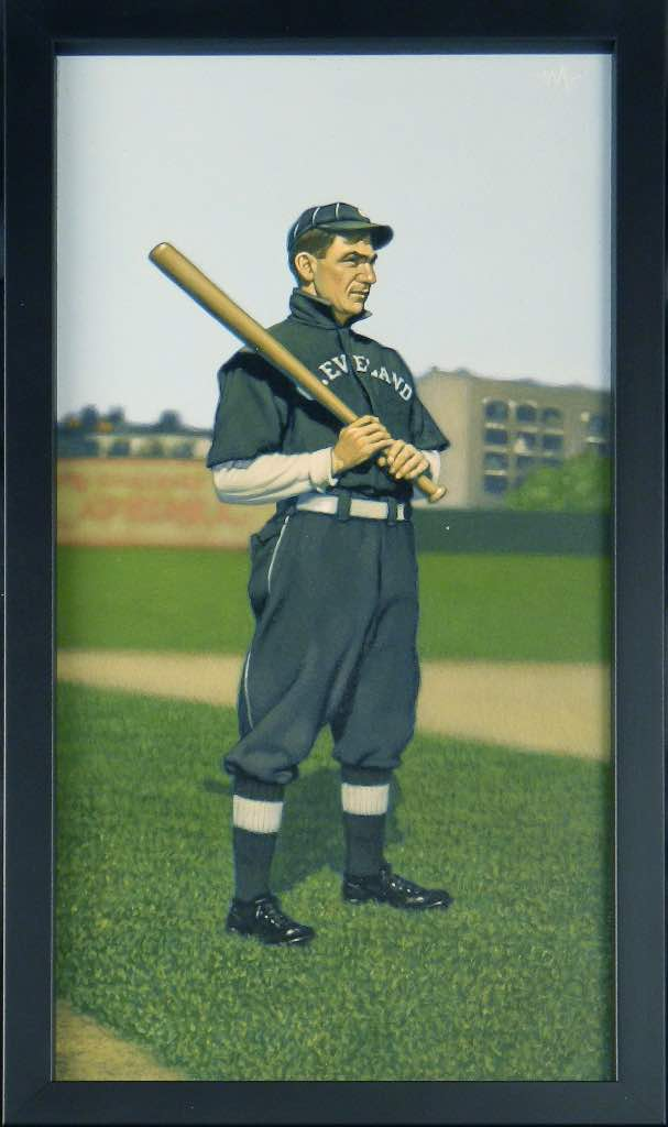 No. 49: Nap Lajoie. Mejores Jugadores de la Historia del Béisbol Cleveland Indians mlb dibujo de Arthur K Miller