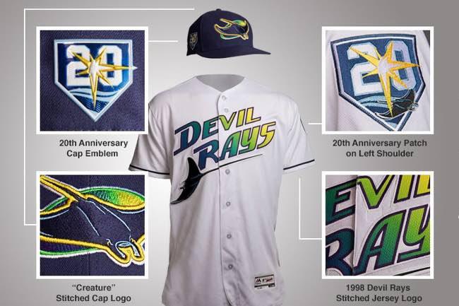 Tampa Bay Rays. Resumen temporada 2018 mlb beisbol Atuendo usado para conmemorar el vigésimo aniversario de la franquicia (Rays)