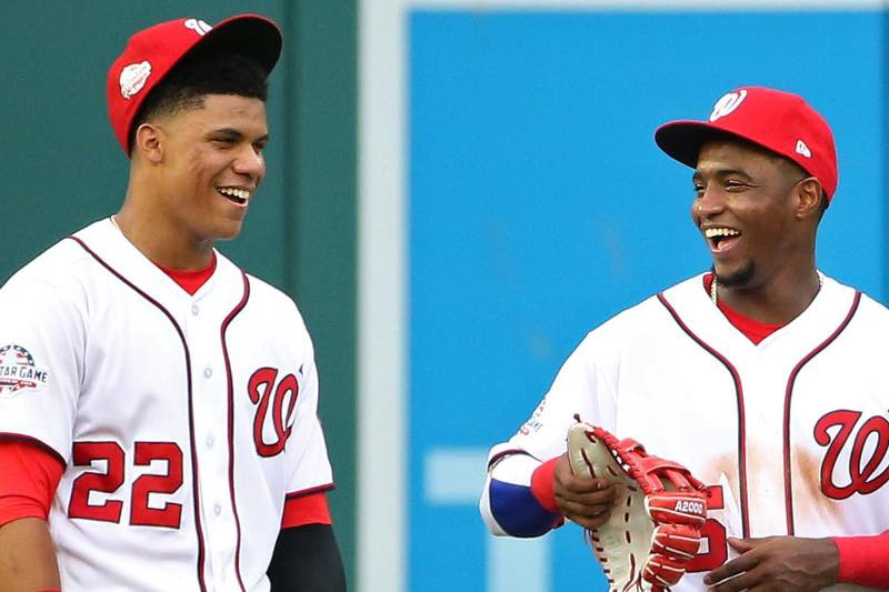 Juan Soto y Víctor Robles. Juventud e ilusión en los jadines.Foto federal baseball.com Washington nationals 2019 beisbol mlb