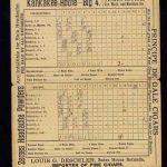 Hoja de anotación de 1889 de un juego de Liga Nacional entre Indianapolis y Boston anotación béisbol